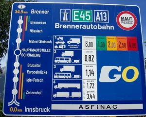 Signs of an austrian autobahn